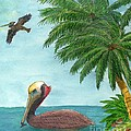 Pelicans Palm Trees Tropical Birds Cathy Peek by Cathy Peek
