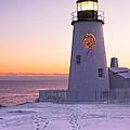 Pemaquid Point Lighthouse Christmas Snow Wreath Maine by Keith Webber Jr