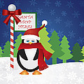Penguin At Santa Stop Here Sign by Jit Lim