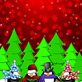 Penguins Carolers Singing With Red Winter Scene Illustration by Jit Lim