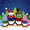 Penguins Carolers With Night Winter Scene by Jit Lim