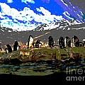 Penguins Line Dance Posterized 2 by Marian Bell