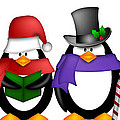 Penguins Singing Christmas Carol Cartoon Clipart by Jit Lim