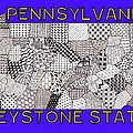 Pennsylvania Map Blue by Rebecca Jayne
