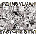 Pennsylvania Map White by Rebecca Jayne
