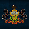 Pennsylvania State Flag Art On Worn Canvas by Design Turnpike