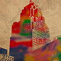 Penobscot Building Iconic Buildings of Detroit Watercolor on Worn Canvas Series Number 5 by Design Turnpike
