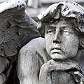 Pensive Angel Detail Monumental Cemetery Milan Italy by Sally Rockefeller
