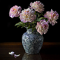 Peonies In A Blue Vase by Endre Balogh