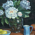 Peonies In Glass Vase by Marge Casey