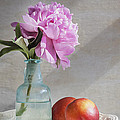 Peony Blue Bottle And Nectarine by Rich Franco