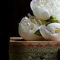 Peony Flowers On Old Hat Box by Edward Fielding
