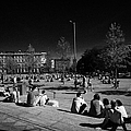 people sitting enjoying the sunshine Eyre Square in the heart of Galway city county Galway Republic of Ireland by Joe Fox