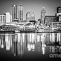 Peoria Illinois Skyline At Night In Black And White by Paul Velgos