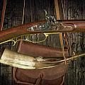 Percussion Cap And Ball Rifle With Powder Horn And Possibles Bag by Randall Nyhof