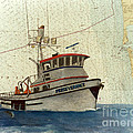 Perseverance Crab Fishing Boat Nautical Chart Art by Cathy Peek