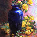 Persian Cobalt - Yellow Roses In Cobalt Vase by Talya Johnson