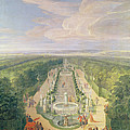 Perspective View Of The Grove From The Galerie Des Antiques At Versailles, 1688 Oil On Canvas by Jean-Baptiste Martin