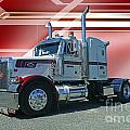 Peterbilt With Burgundy Abstract by Randy Harris