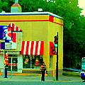 Pfk Poulet Frit Kentucky Kfc Sherbrooke And Decarie Montreal Art Restaurant Scenes Carole Spandau by Carole Spandau