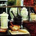 Pharmacist - Mortar Pestles And White Jars by Susan Savad