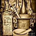 Pharmacy - Snake Oil -  Black And White by Paul Ward