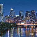 Phila Pa Night Skyline Reflections Center City Schuylkill River by David Zanzinger
