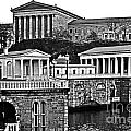 Philadelphia Art Museum At The Water Works In Black And White by Tom Gari Gallery-Three-Photography