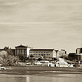 Philadelphia Art Museum With Cityscape In Sepia by Bill Cannon