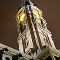 Philadelphia City Hall Clock Tower At Night by Gary Whitton