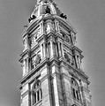 Philadelphia City Hall Tower Bw by Constantin Raducan