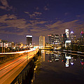 Philadelphia Cityscape From South Street At Night by Bill Cannon