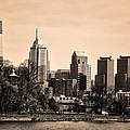 Philadelphia Cityscape In Sepia by Bill Cannon