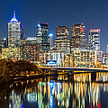 Philadelphia Cityscape Panorama By Night by Mihai Andritoiu