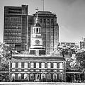 Philadelphia Independence Hall 6 Bw by Constantin Raducan