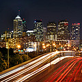 Philadelphia Skyline At Night In Color Car Light Trails by Jon Holiday