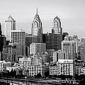 Philadelphia Skyline Black And White Bw Pano by Jon Holiday