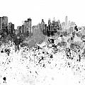 Philadelphia Skyline In Black Watercolor On White Background by Pablo Romero