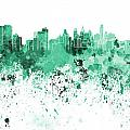 Philadelphia Skyline In Green Watercolor On White Background by Pablo Romero