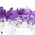 Philadelphia Skyline In Purple Watercolor On White Background by Pablo Romero