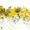 Philadelphia Skyline In Yellow Watercolor On White Background by Pablo Romero