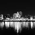 Philadelphia Skyline Panorama In Black And White by Bill Cannon