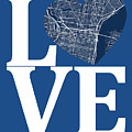 Philadelphia Street Map Love - Philadelphia Pennsylvania Texas R by Jurq Studio