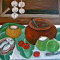 Philippine Still Life With Fish And Coconuts by Victoria Lakes