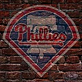 Phillies Baseball Graffiti On Brick  by Movie Poster Prints