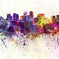 Phoenix Skyline In Watercolor Background by Pablo Romero