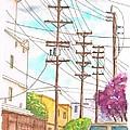 Phone Poles In An Alley - Westwood - California by Carlos G Groppa