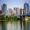 Photo Of Cincinnati Skyline And Roebling Bridge by Paul Velgos