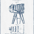 Photographic Camera Patent Drawing From 1885- Blue Ink by Aged Pixel