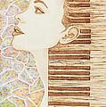 Piano Spirit Original Coffee And Watercolors Series by Georgeta Blanaru